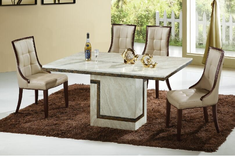 Enjoyable Cream Marble Dining Table 6 Chairs Beutiful Home Inspiration Xortanetmahrainfo