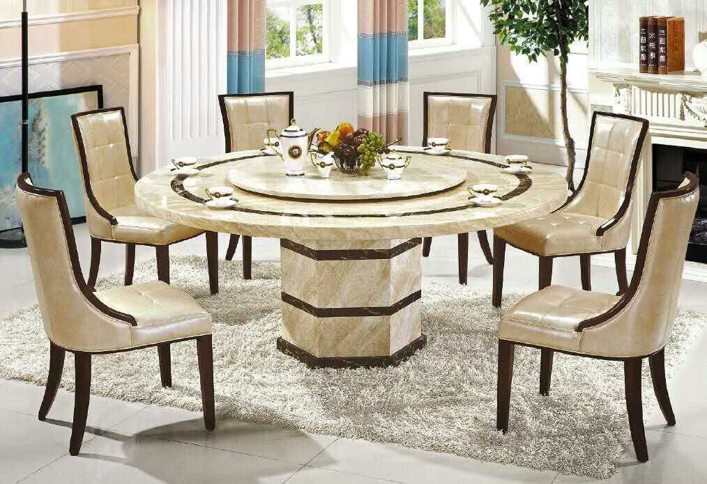 1 5m Round Marble Dining Table 8 Chairs