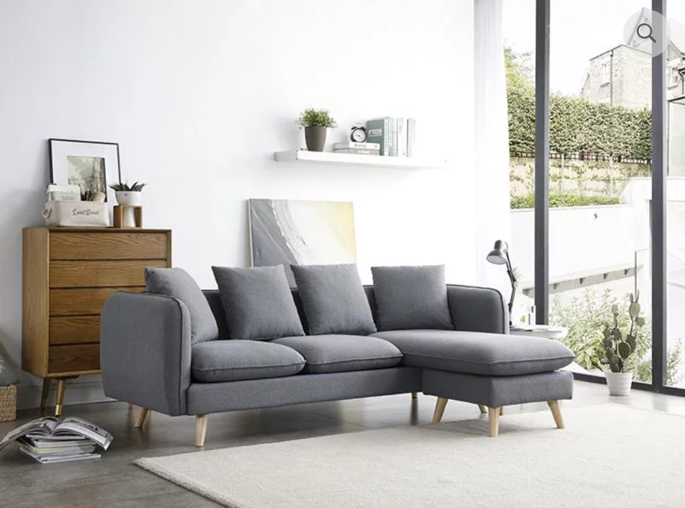 new grey 3 seater sofa with adjustable chaise
